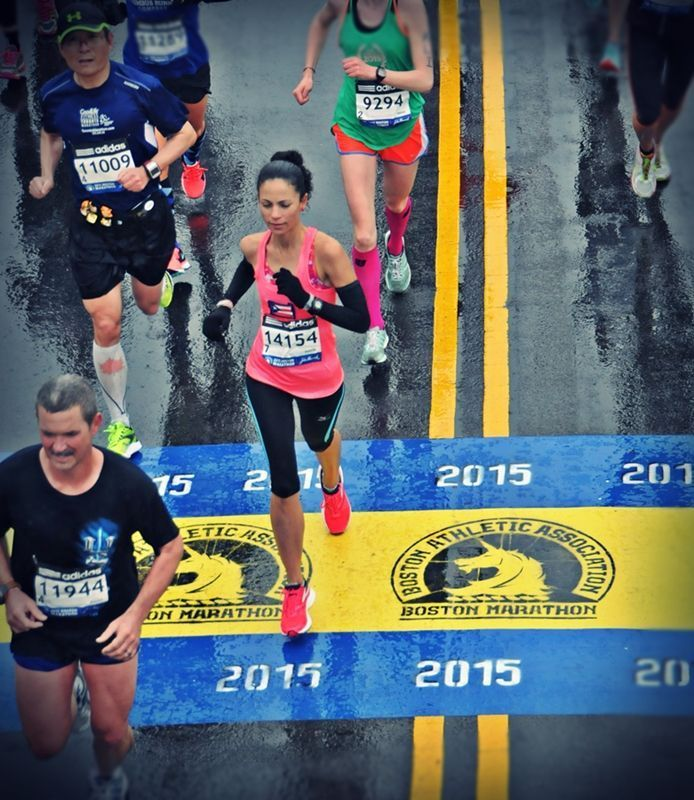 Maratón Boston mojado y frío