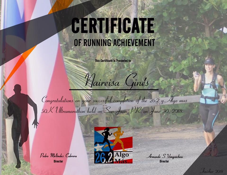 Certificado Ultramaratón 26.2 y Algo Más